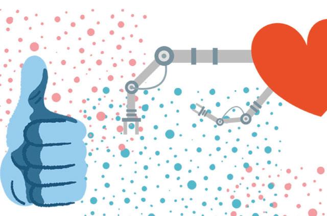 ilustración digital de una mano y un corazón robotizado