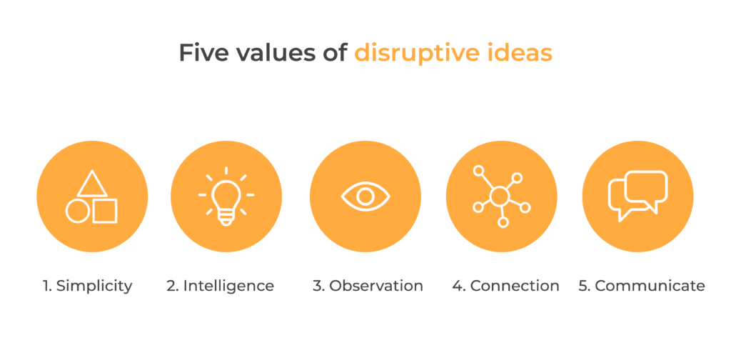 Simplicity, intelligence, observation, connection and communicate, the five values of disruptive ideas